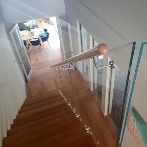 Frameless Glass Balustrade with Timber Handrail