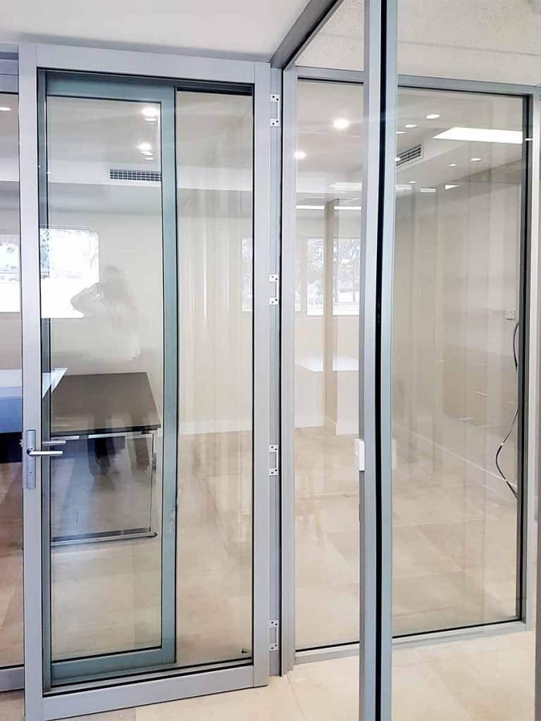 Office Partitioning with Hinged Aluminium Doors
