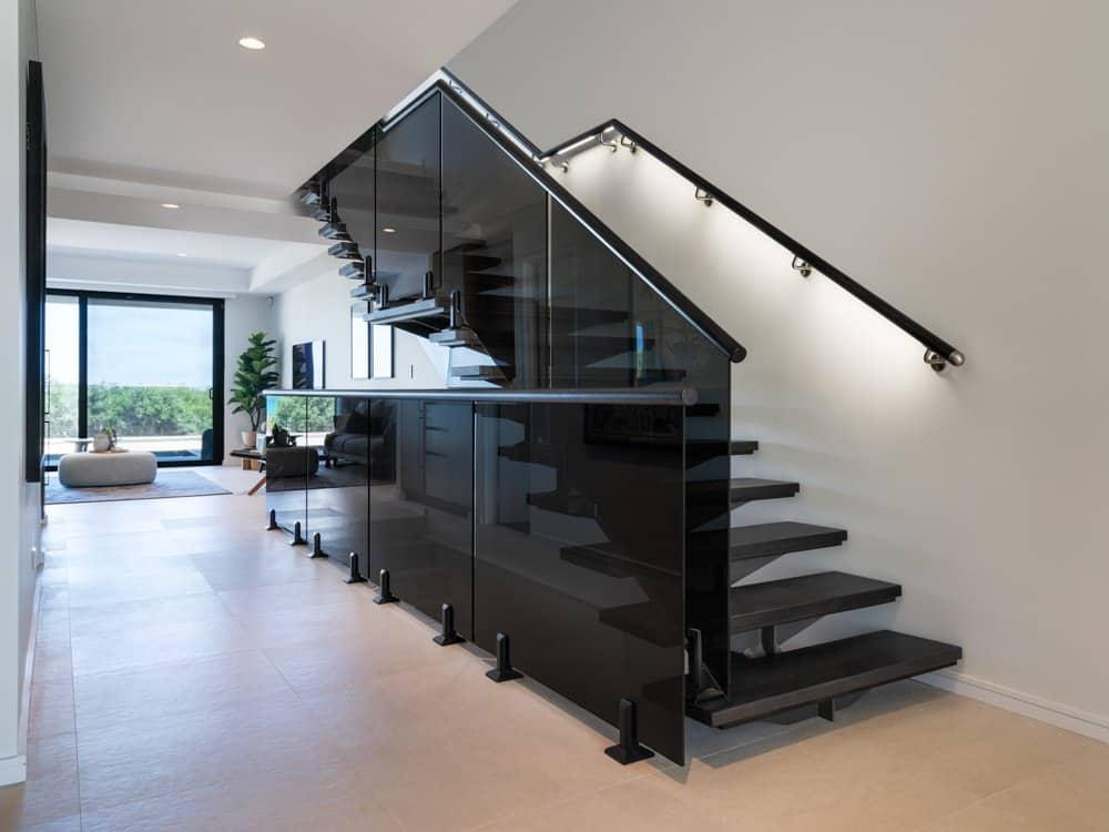Grey Glass Balustrade with Illuminated Handrail